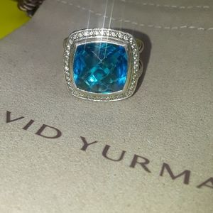 Authentic diamondblue topaz David yurman 925 ring